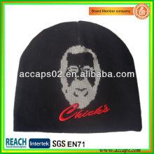 Fantaisie en tricot jacquard visage homme et broderie 3D BN-2651