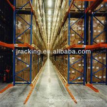 Jracking 4 floors high 7 pallets depth shelf drive through pallet racks for tabbaco storage
