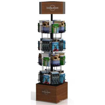 Kettenbuch Einzelhandel Store Fixture Rotierende benutzerdefinierte Postkarte Inhaber Holz Comic Buch Display Rack