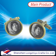 Blank Cufflinks with People Image Printed Epoxy Custom Metal Cufflinks