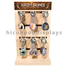 Novel Wooden Slatwall Panel Metall Haken Tischplatte Double Sided Stein Schlüsselring Schlüsselanhänger Display Stand