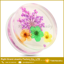 Klarer UV-Acryl-trockener Blumen-Sattel-Ohr-Tunnel-Messinstrument-Bahre