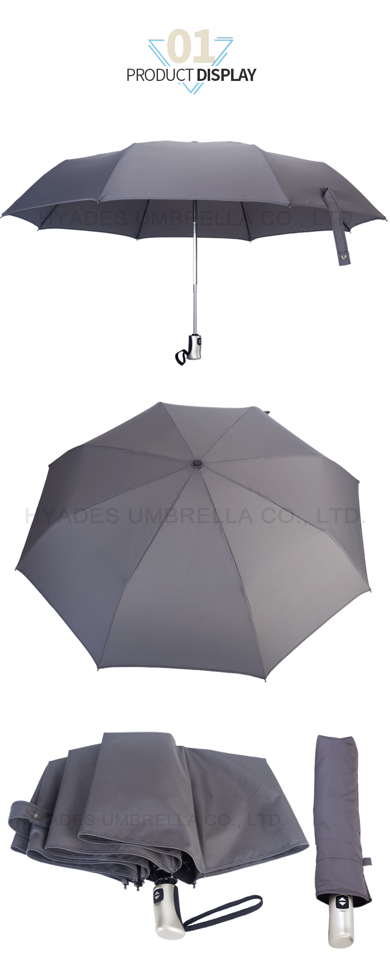 Grey With Pyping Auto Open And Close Folding Umbrella Auto Open And Close