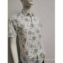 Camisa de manga comprida estampada de algodão spandex masculina