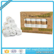100% produtos de bambu anti-bacteriana orgânica baby washcloth towel gift pack