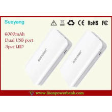High capacity  6000mah Mini USB Battery Pack With LED Light