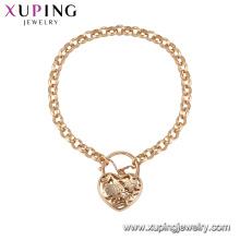 71862 Xuping simples estilo fantasia amor coração em forma de pulseira de ouro jóias