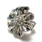 New Women Vintage rhodium Plated Round flower clear rhinestone crystal Stretch Ring zinc alloy Jewelry factory