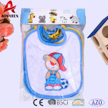 65%cotton 35%polyester new born 4pc bibs