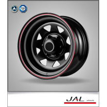 Rueda de remolque en acabado negro con rayas rojas acero ruedas de coches borde