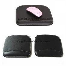 Tapis de souris de qualité avec poignet personnalisé noir / marron PU tapis de souris en cuir en gros