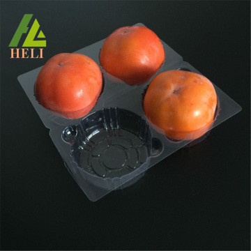 Four Compartments Clear Plastic Persimmon Tray
