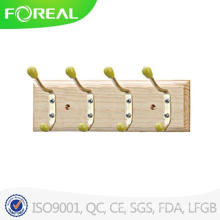 Wooden Coat Hooks with Colorful Beads