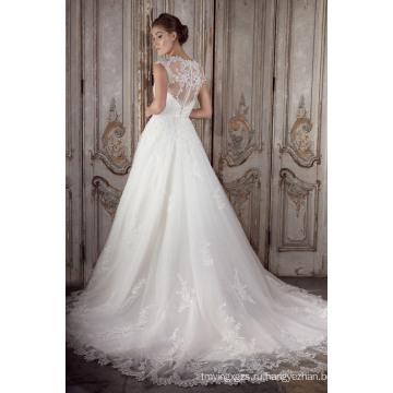 2016 новейшие Cap рукава чисто обратно для новобрачных кружева линии, свадебное платье