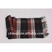 men checked wool scarf/men checked cashmere scarf