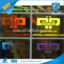 Alibaba CALIENTE de la VENTA China Etiqueta engomada de encargo del holograma del oro y de la plata del logotipo de Shenzhen ZOLO
