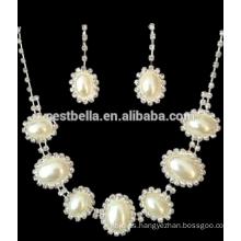 Venta al por mayor blanco perla accesorios nupcial joyería collar pendiente