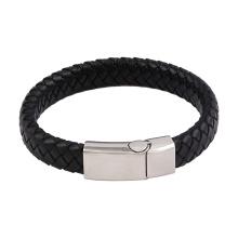 Brazalete-44 Xuping diseño de moda simple pulsera de cuero de acero inoxidable para hombres