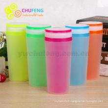 En gros écologique en plastique double couche isoler tasse terne polonais surface tasse Publicité eau tasse LOGO personnalisé pour boisson
