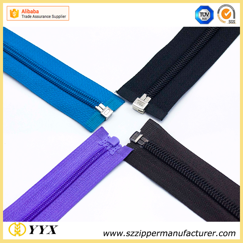 nylon separating zipper with plastic stopper