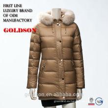 estilo de la chaqueta al aire libre de la chaqueta de la señora largo con la piel verdadera 2016