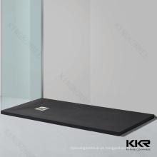 Bandeja de chuveiro de ardósia preta pedra artificial, bandeja de chuveiro preto