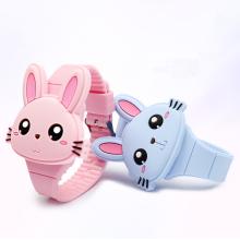 Hot Selling Cute Cartoon Bunny Design Dial Led  Watch Comfortable StrapBoys  Girls   Digital Watch