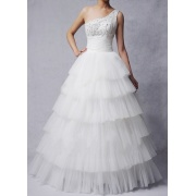Bollen klänning prinsessan One-shoulder golv-längd Oraganza Beading lager bröllopsklänning