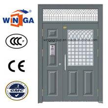 Double Size Security Steel Metal Glass Door with Window (W-GD-20)