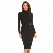Long Sleeve Bandage Dress Black Dress