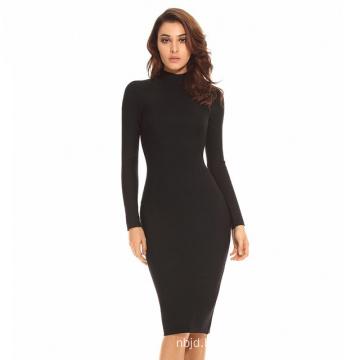 Long Sleeve Bandage Dress Black Dress