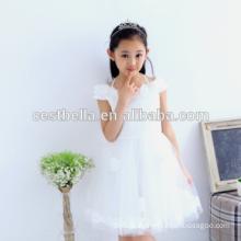 Billiges reizendes Baby-Kleid-nettes Blumen-Mädchen-Kleid-hübsches weißes nettes Kind-Hochzeits-Kleid-Geburtstags-Party-Prinzessin-Partei-Kleid