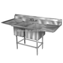 Economy Stainless Steel Free Standing Fabricated Bowl 2 two Compartment Scullery Sink with double drainboards for dishwashing