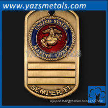 custom made military tags with brass plating, with person logo