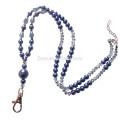 Sundysh Perlen Lanyard, Blue Pearl Crystal Perlen Schlüsselanhänger Lanyard Halskette für Abzeichen ID Kartenhalter