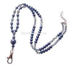 Cordón de cuentas Sundysh, collar cristalino del cordón del llavero de la perla azul para el sostenedor de la tarjeta de identificación de la insignia
