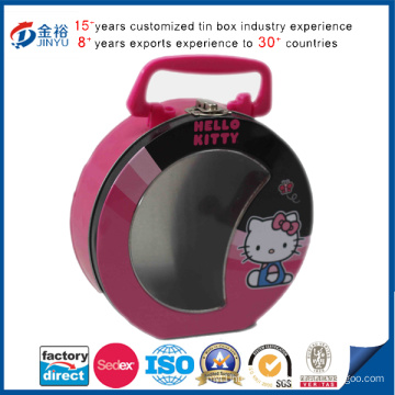 Round Cookie Tin Box with Handle