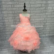A-Line personnalisé Ruffles jupe perles arc arrière robe fille fleur FGZ07 robes de fête filles