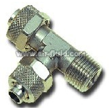 Run Tee Male Adaptor N.P Brass Rapid Push-over Tubing Fittings
