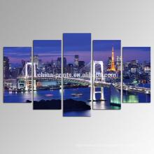 Arte de la lona de la bahía de Tokio / impresión de la fotografía del paisaje urbano en el paisaje de la noche de la lona / de la ciudad