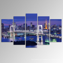 Baía de Tokyo Arte da lona / cópia da fotografia da arquitectura da cidade na lona / paisagem da noite da