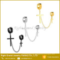Surgical Stainless Steel Double Hoop And Cross Chain Dangle For Ear Piercings