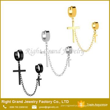 El doble aro quirúrgico del acero inoxidable y la cadena cruzada cuelgan para las perforaciones del oído