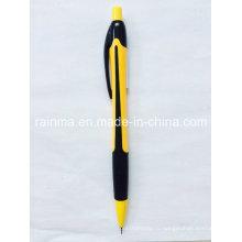 Пластиковый карандаш с двумя цветными черными и желтыми из ствола