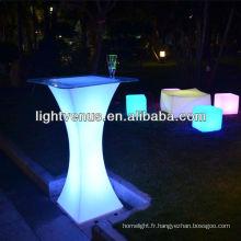 Table de bar avec lumière