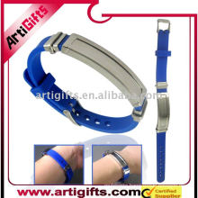 Promotional wristband Silicone bracelet with Stainless Steel clasp