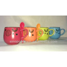 Special Drum Matte Color-glazed Mug with Debossed Pattern for BS131010B