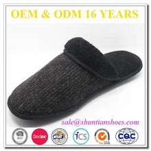 Fashion knit upper soft sole mens house slippers footwear