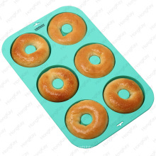 Food grade microwave safty silicone 6 cups round cake pan mold Muffins Pan Donut pan