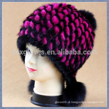 Lady Rose Red Mink Fur Cap com esferas sólidas